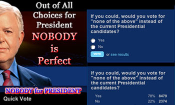 "If you could, would you vote for ""none of the above"" instead of the current Presidential candidates?"